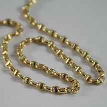 18K YELLOW GOLD CHAIN NECKLACE SAILOR'S OVAL NAVY LINK 23.62 IN MADE IN ITALY image 4