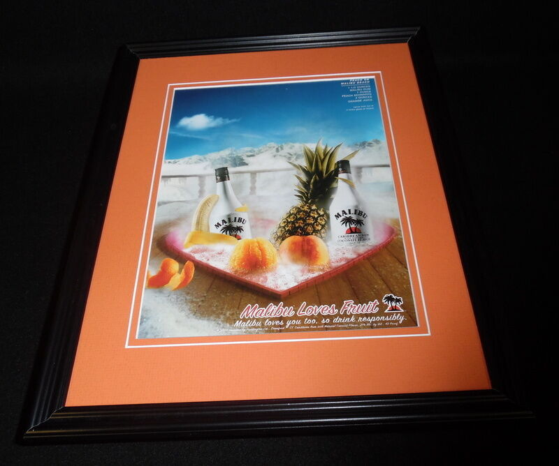 Primary image for 2000 Malibu Rum Framed 11x14 ORIGINAL Vintage Advertisement