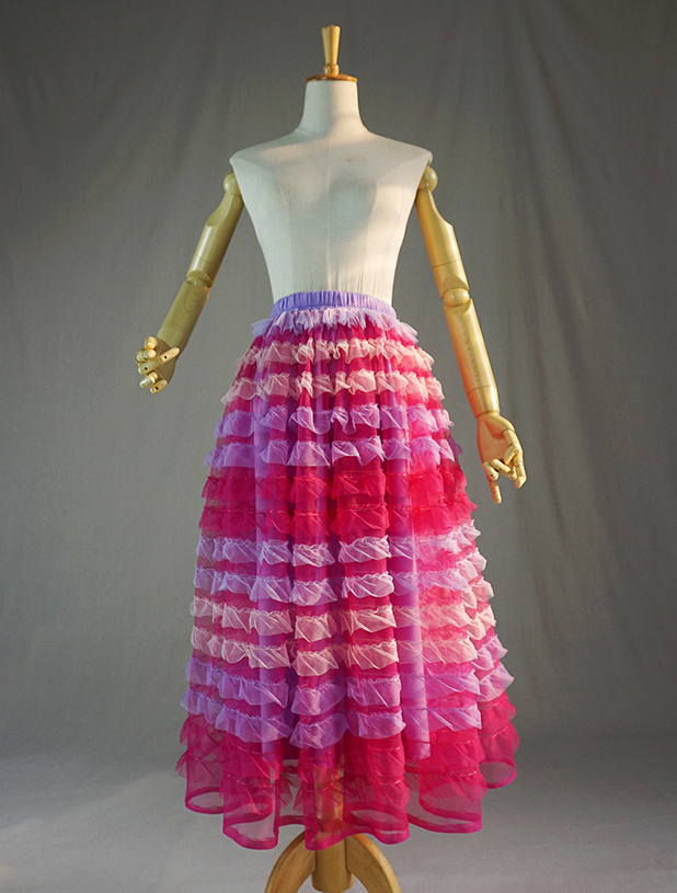 Pink multicolor tulle skirt 1