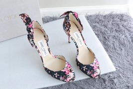 NEW AUTH JIMMY CHOO Pink Black Flower Pumps Heels Shoes 35.5 image 5
