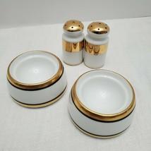 Vintage Japan Salt Pepper Shakers & Egg Dishes Porcelain Gold Black White - $42.75