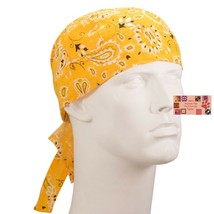 GOLD Yellow Paisley FITTED BANDANA w/TIES Head Wrap Skull Cap DOO DO Du ... - $11.49