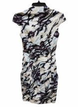 Karen Millen Short Sleeve Beige Black Blue Summer Zipper Floral Dress Size 2 image 3