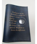 Alcoholics Anonymous AA Big Book Cover Serenity Blue Medallion Chip Holder - $17.96