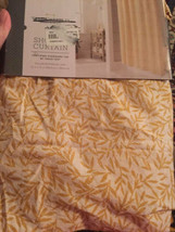 """Threshold Yellow Botanical Leaf Buttonhole Top Fabric Shower Curtain 72""""... - $19.79"""