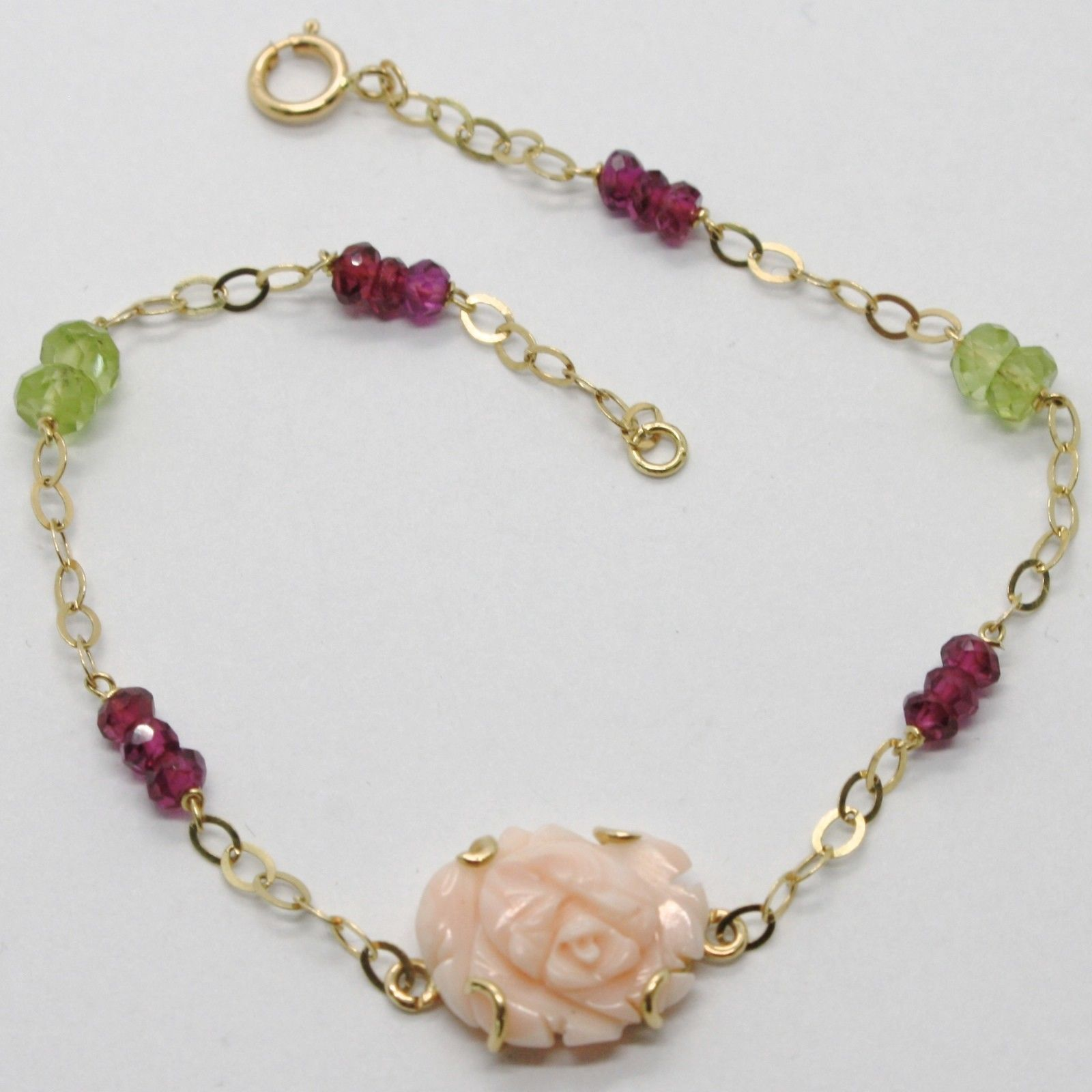ARMBAND GELBGOLD 18K 750 KORALLE PINK PERIDOT-GRÜN RHODONIT MADE IN ITALY