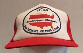 Vintage American Kleaner Snapback Mesh Trucker Hat Cap USA Red Cleaning ... - $27.10