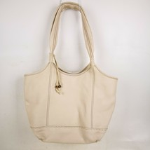 The Sak Womens Tote Handbag Shoulder Purse Handbag White Pebbled Soft Le... - $29.99