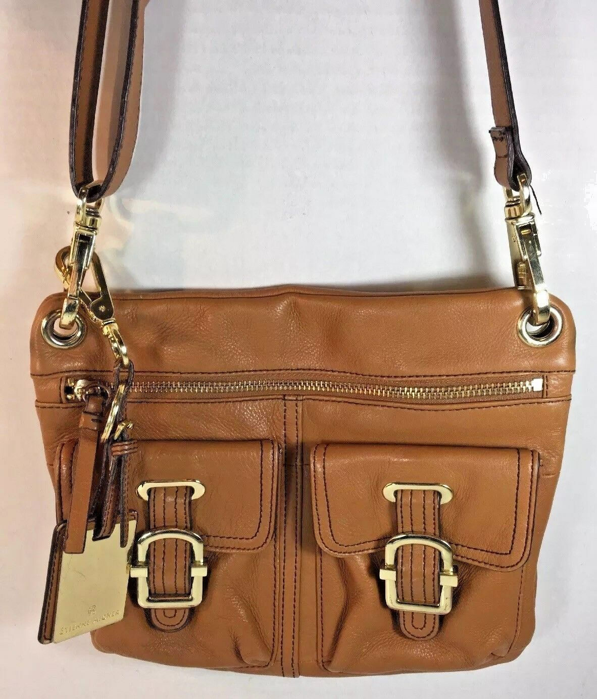 Primary image for ETIENNE AIGNER Brown Leather Slim Cross Body Shoulder Bag Gold Tone HW