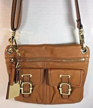 ETIENNE AIGNER Brown Leather Slim Cross Body Shoulder Bag Gold Tone HW - $30.06