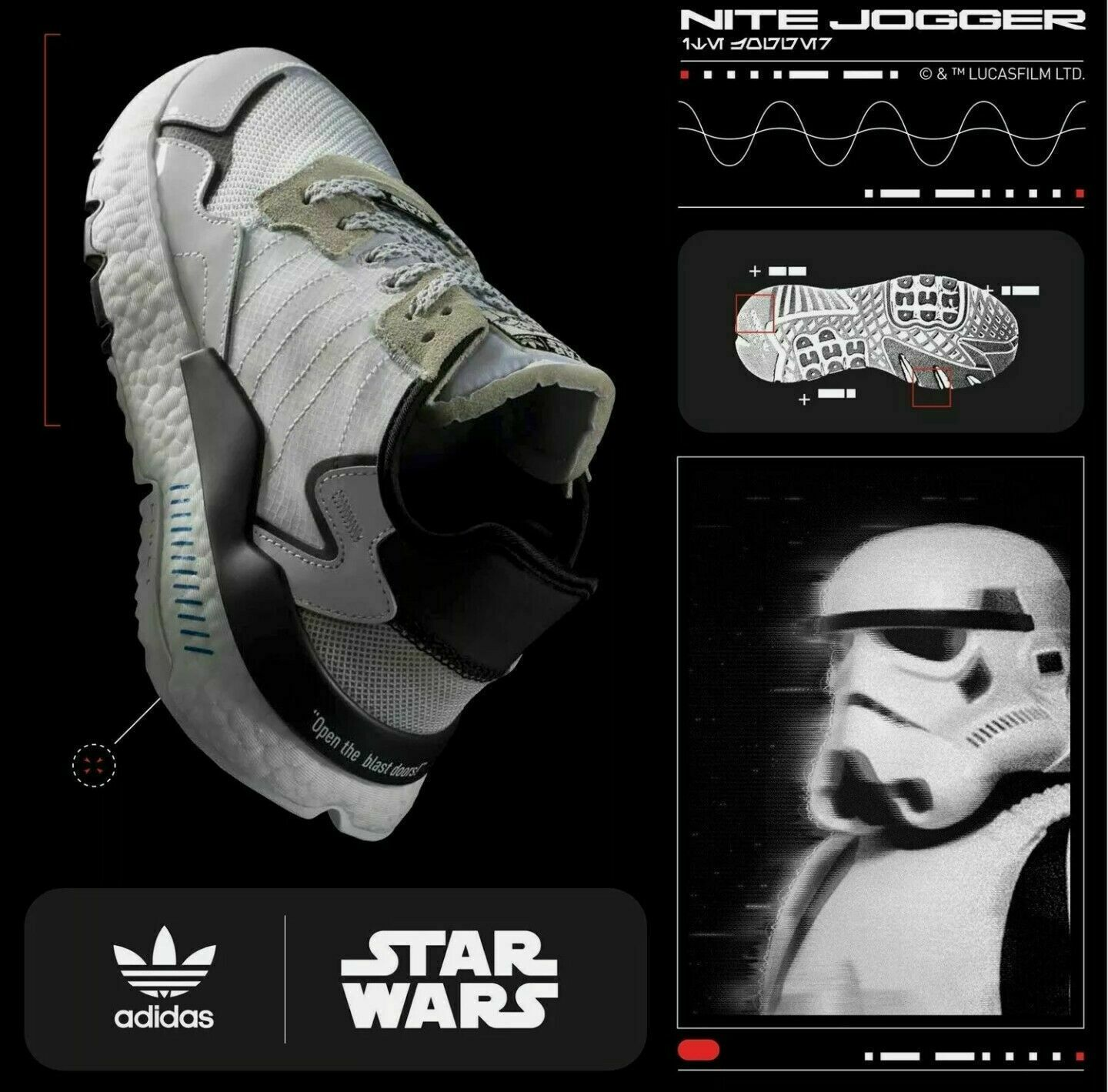 Primary image for Adidas Nite Jogger Star Wars Storm Trooper Boost Shoes Sneaker White Size 6y New
