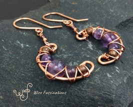 Handmade amethyst earrings: criss cross copper wire wrapped crescent moons - $30.00