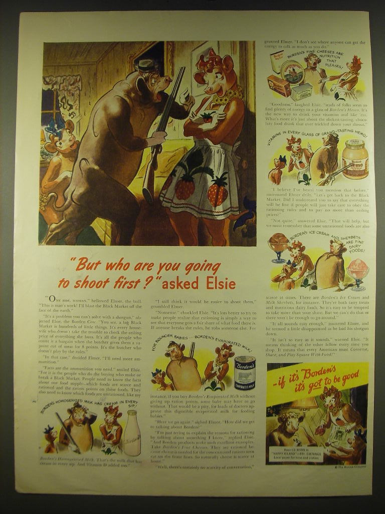 1944 Borden's Milk Ad - But who are you going to shoot first? Asked Elsie - $14.99