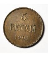 1901 Finland 5 Five Penniä Copper Coin KM# 15 - $53.80 CAD