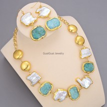 GG Jewelry Natural Freshwater White Baroque Pearl Green Nugget Amazonite... - $96.57