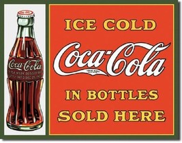 Coca Cola Coke Sold Here in Bottles Advertising Vintage Retro Metal Tin ... - $14.99