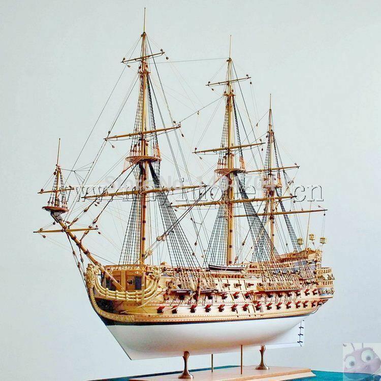 1/50 Luxury classic sail boat Wooden model kits San Felipe warship model image 4