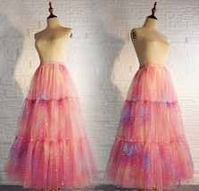 Rainbow Color Long Tulle Skirt Tiered Tutu Skirt Outfit Plus Size Layered Skirt  image 5