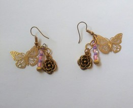 Butterfly flower pink purple bead dangle earrings - $13.00