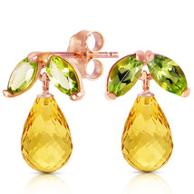 14K Solid Rose Gold Women's Cute Stud Fashion Earrings w/ Peridots & Citrines - $184.49