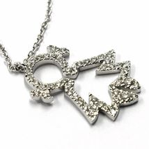 18K WHITE GOLD NECKLACE, BABY, CHILD, GIRL, DAUGHTER PENDANT DIAMONDS ROLO CHAIN image 3