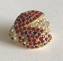 "Vintage MONET 3D Gold Tone Red White Rhinestone Ladybug Pin Brooch 7/8""x... - $24.74"
