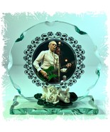 Francis Rossi Green Guitar 'Status Quo' Cut Glass Round Plaque Ltd Editi... - $34.64