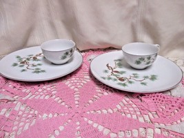 Laurel China Snack Plate and Cup Sets Pine Platinum Trim Made In Japan 2... - $11.64