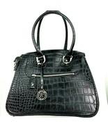 London fog black croc embossed handbag large purse  - $58.41