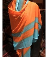Vintage Orange Turquoise Sari Scarf Wrap Shawl - $37.77