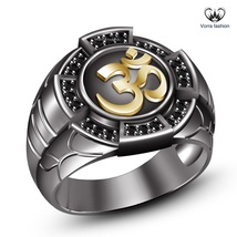 "14k Black Rhodium Plated 925 Sterling Silver Round Cut CZ Men's SPL ""OM"" Ring - $116.19"