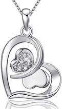 Sterling Silver Butterfly Double Love Heart Pendant Necklace Women Jewel... - $57.91
