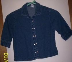 Old Navy Blue Jean Denim Shirt Short Sleeve Girls See Measurements - $2.99