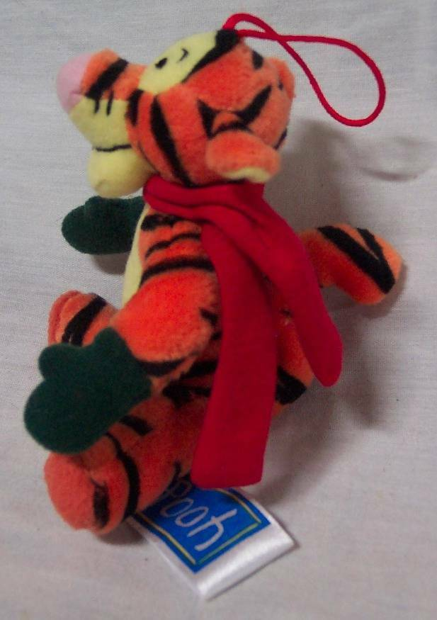 "Winnie the Pooh CHRISTMAS TIGGER W/ MITTENS 4"" Plush STUFFED ANIMAL Ornament"