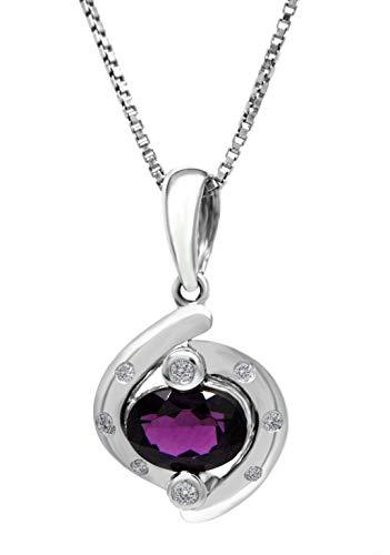 AFJewels 14k White Gold Rhodolite - .08 ct Diamonds - Infinity Pendant for Women