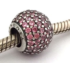 Authentic Pandora Pave Lights Fancy Pink 925 Silver Bead Charm 791051CZS New - $53.19