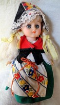 Rubber Doll in Costume Blonde hair eyes open and close 7 1/2 inches tall - $4.94