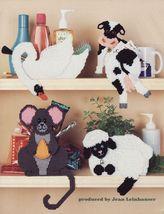 Plastic Canvas Shelf Sitter Storage Organizers Cat Puppy Teddy Bear Cow ... - $12.99