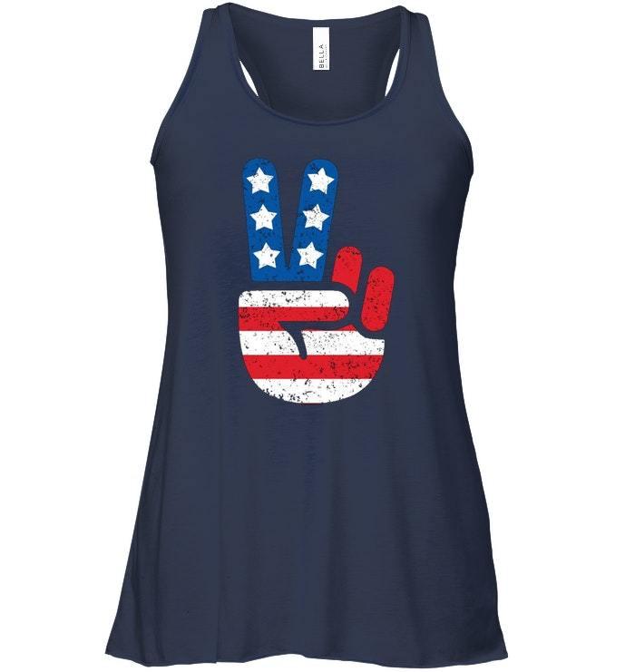 Cool American USA Flag Big Peace Sign Flowy Racerback Tank image 2