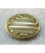 Vintage Gold Tone Tie Clip Clasp w Scroll Wreath Oval Shaped 3/4 Inch D1 - $12.38