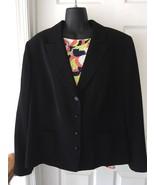 Womens Plus Black Tahari Arthur S. Levine Buttoned Blazer Jacket Sz 18W EUC - $114.99