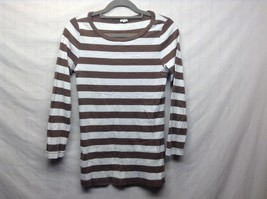 Ladies J. CREW Brown w White Stripe Long Sleeve Shirt Sz M
