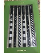 Kate Spade Top Of The Line Black Ink Pen Set of 6 Polka Dots Black White... - $18.95