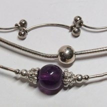 """3 PC Lot 16"""" Length Choker Necklaces ALL SOLID STERLING SILVER Amethyst ... - $49.48"""