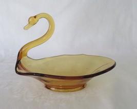 Viking New Martinsville, Glass Swan, Amber, #1324, circa 1964 - $16.00