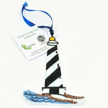 Handcrafted Nautical Lighthouse Recycled Wood Craquelure Painted Ornament