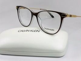 New Calvin Klein CK19709 222 Brown Horn & Crystal Eyeglasses 50mm with Case - $89.05