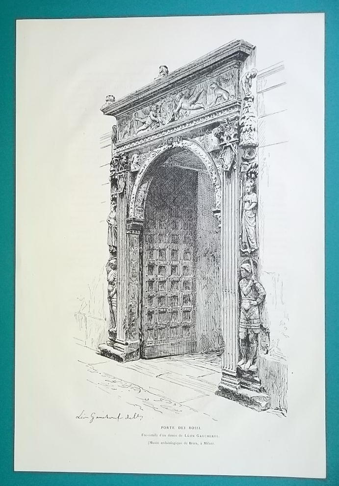 ITALY Florence Portal of Medici Bank Porte Bossi - 1876 Antique Print