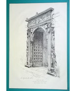 ITALY Florence Portal of Medici Bank Porte Bossi - 1876 Antique Print - $19.80