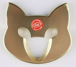 Fred Cap & Mouse Kitty Cat Gold Tone Metal Bottle Opener image 4